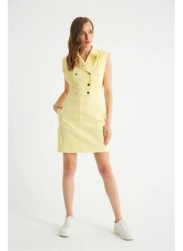 Robin Robin Çıt Çıt Detaylı Cepli Jean Elbise Sarı Sarı